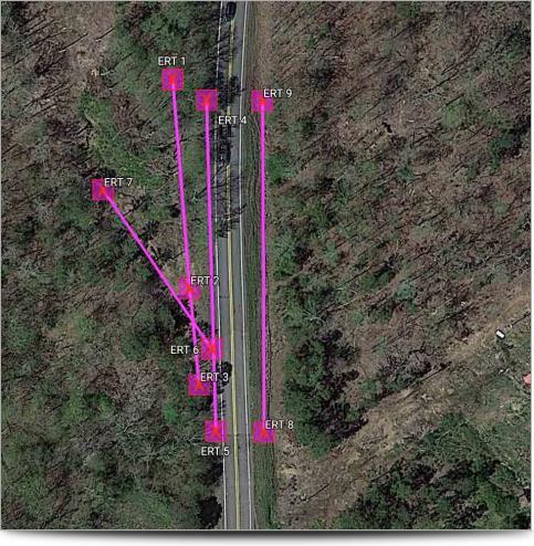 AGI Case History - Ozark Landslide - Mapped Survey Lines