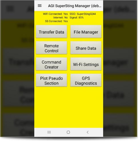The SuperSting Manager App Main Screen on Android Phone