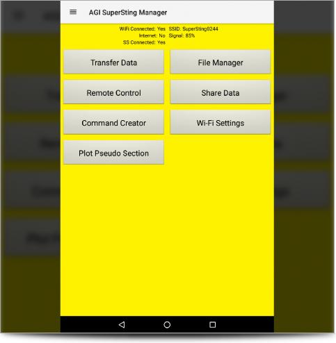 The SuperSting Manager App Main Tablet Screen